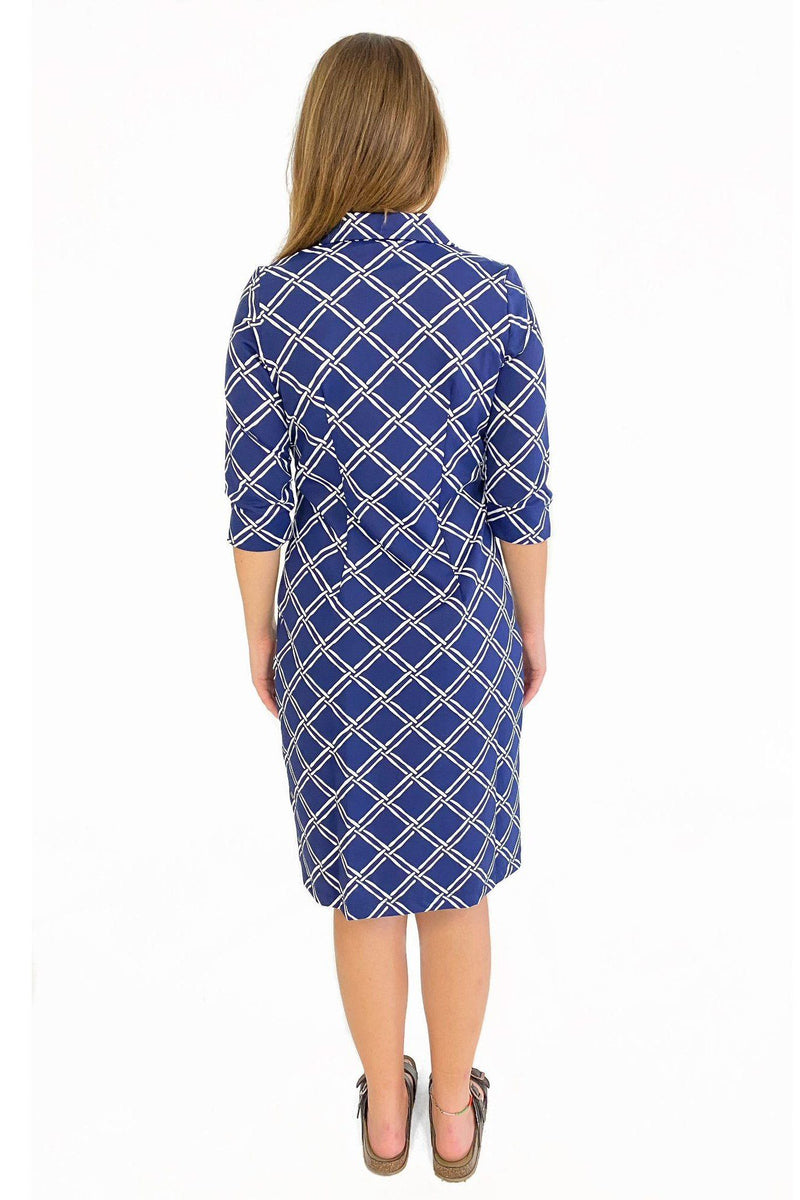NOLA DRESS BAMBOO WINDOW PANE NAVY DRESSES KATHERINE WAY