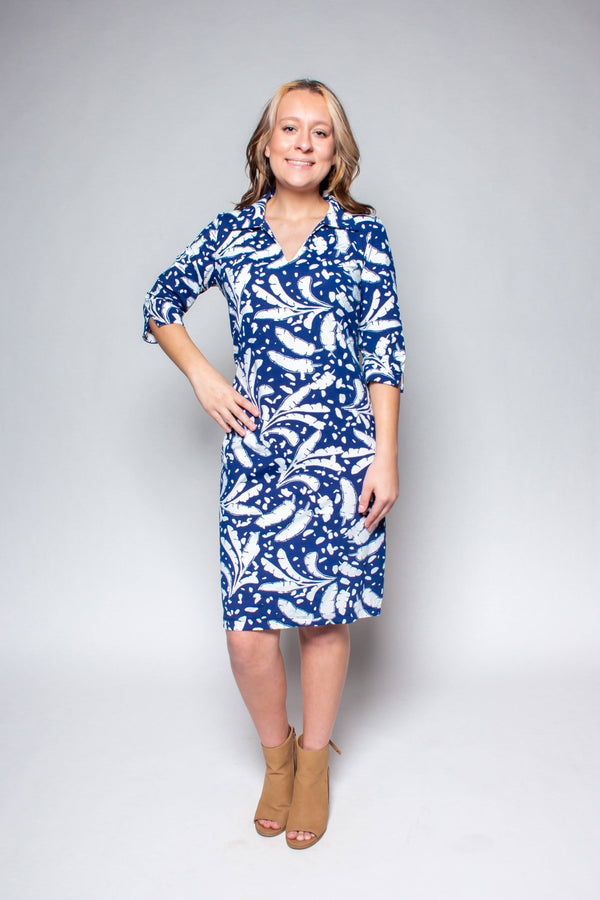 NOLA DRESS BANANA LEAVES NAVY DRESSES KATHERINE WAY