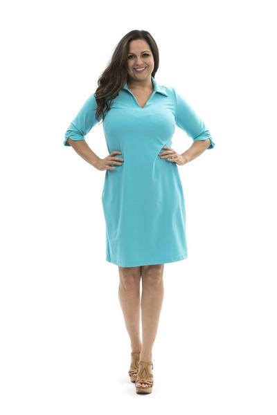Nola Dress Blue Curacao DRESSES Katherine Way Collections Blue Curacao XS