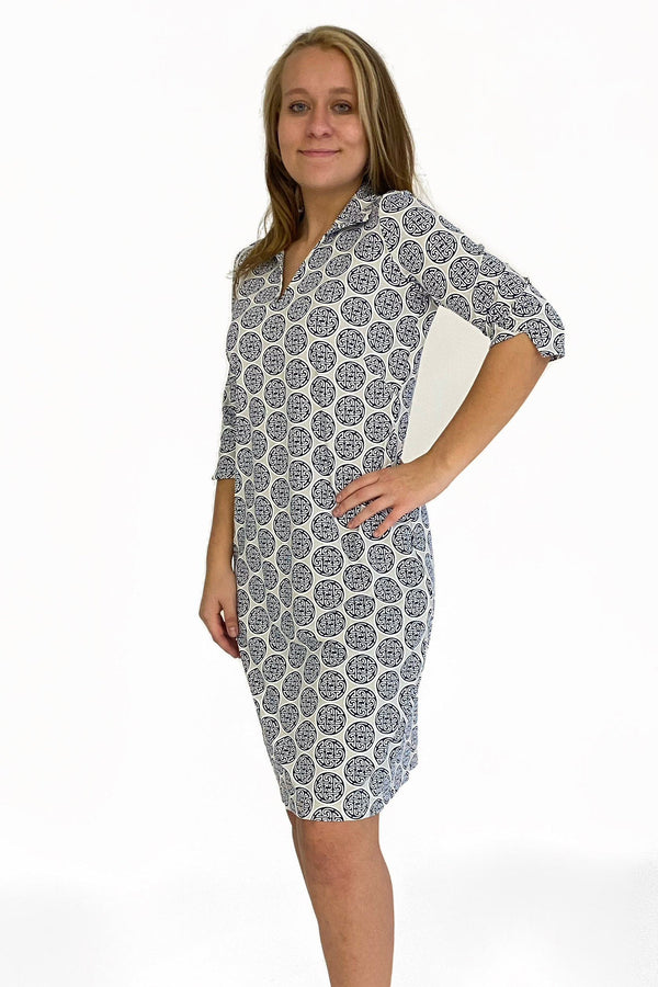NOLA DRESS MEDALLION NAVY GREY DRESSES KATHERINE WAY