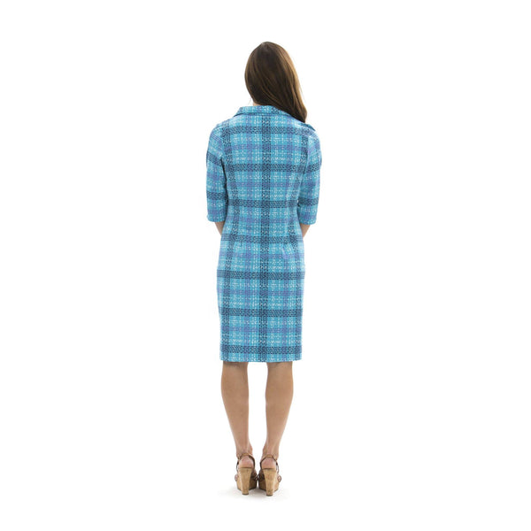 Nola Dress Plaid Dots Topaz Navy DRESSES Katherine Way Collections