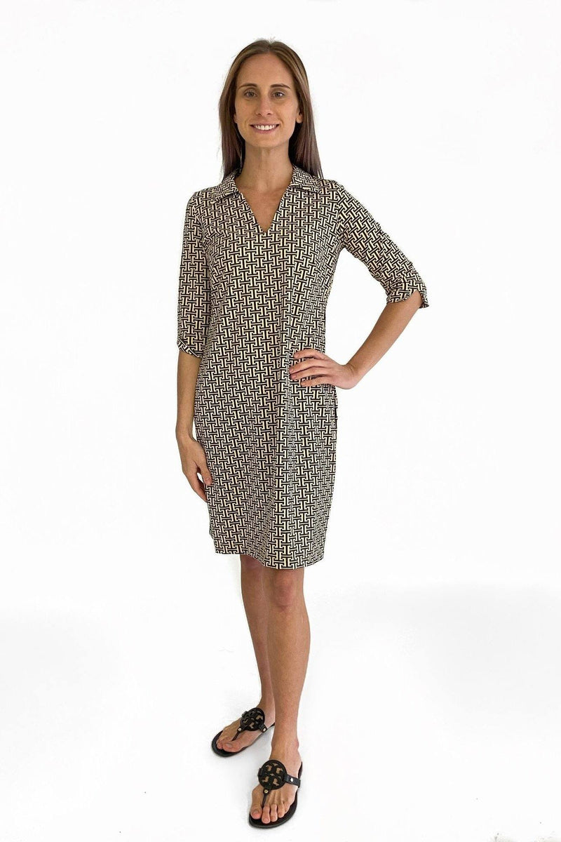 NOLA DRESS T PATTERN BLACK TAN DRESSES KATHERINE WAY