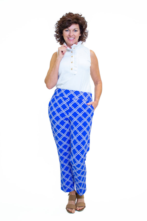 Panama Pants Bamboo Window Royal BOTTOMS Katherine Way Collections