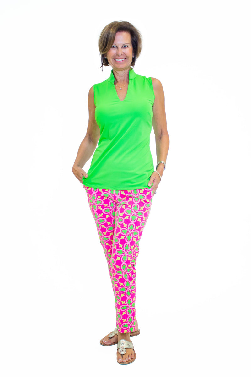 Panama Pants Fleur Geranium Lime BOTTOMS Katherine Way Collections