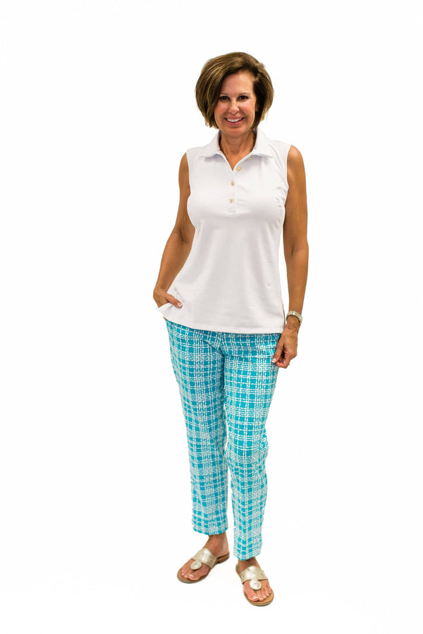 Panama Pants Plaid Dots Topaz BOTTOMS Katherine Way Collections Plaid Dots Topaz 0