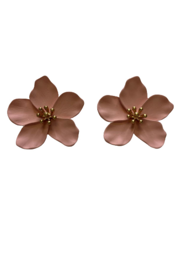 PINK FLOWER EARRINGS JEWELRY GOLDEN STELLA
