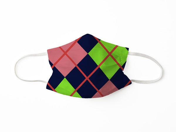PROTECTIVE FACE MASK ARGYLE NAVY CORAL PPE KATHERINE WAY