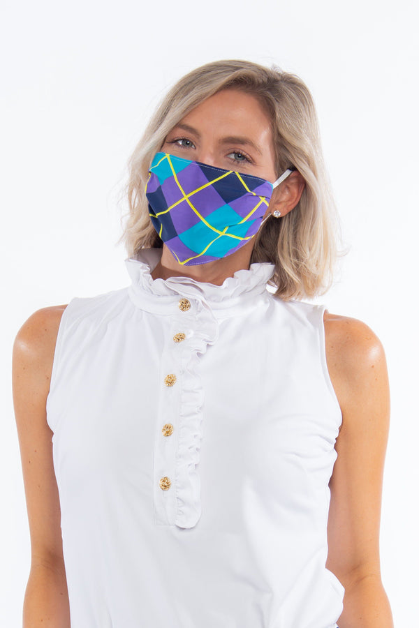 PROTECTIVE FACE MASK ARGYLE PLUM NAVY PPE KATHERINE WAY