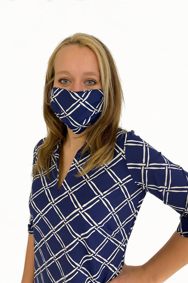 PROTECTIVE FACE MASK BAMBOO WINDOW PANE NAVY PPE KATHERINE WAY