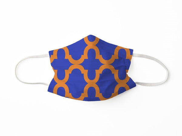 PROTECTIVE FACE MASK BOLD TRELLIS BLUE ORANGE PPE KATHERINE WAY