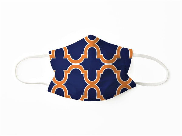 PROTECTIVE FACE MASK BOLD TRELLIS NAVY ORANGE PPE KATHERINE WAY