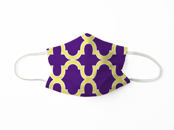 PROTECTIVE FACE MASK BOLD TRELLIS PURPLE GOLD PPE KATHERINE WAY
