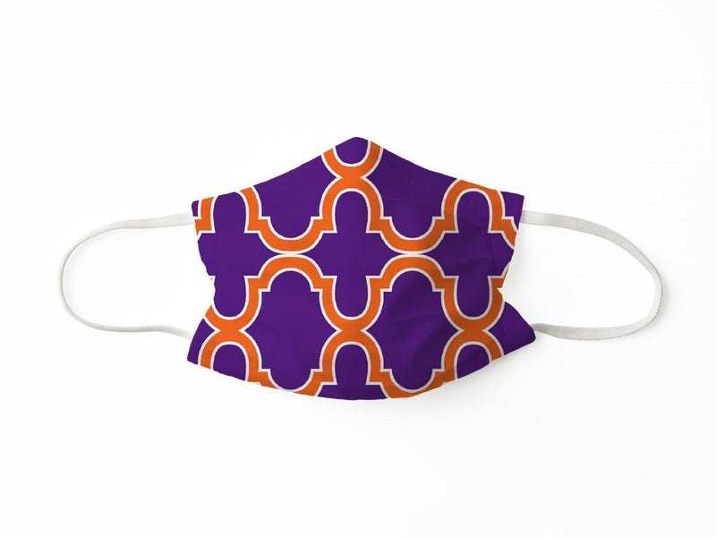 PROTECTIVE FACE MASK BOLD TRELLIS PURPLE ORANGE PPE KATHERINE WAY