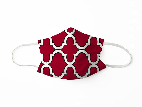 PROTECTIVE FACE MASK BOLD TRELLIS RED BLACK PPE KATHERINE WAY