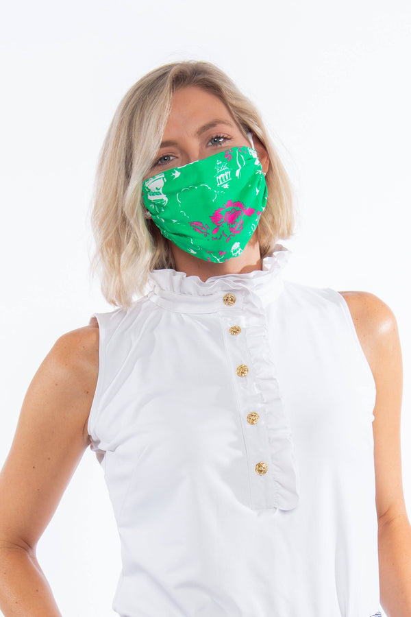 PROTECTIVE FACE MASK CHINESE PAGODA GREEN PPE KATHERINE WAY