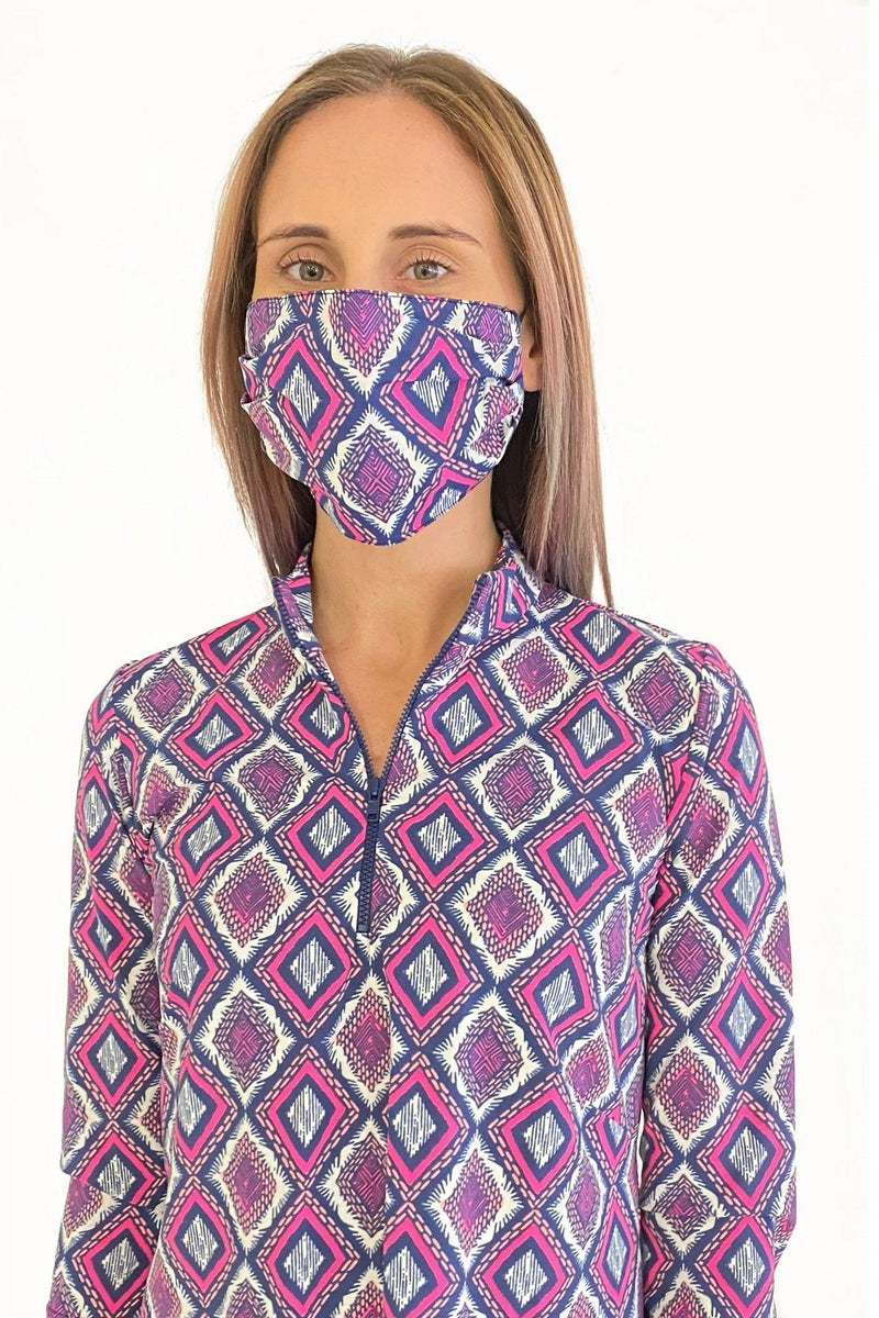 PROTECTIVE FACE MASK DIAMOND EMBROIDERY NAVY FLAMINGO PPE KATHERINE WAY