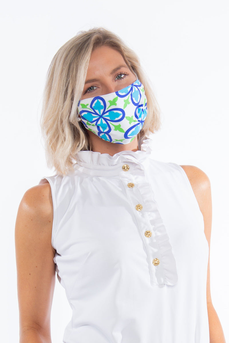 PROTECTIVE FACE MASK FLEUR ROYAL TURQUOISE PPE KATHERINE WAY