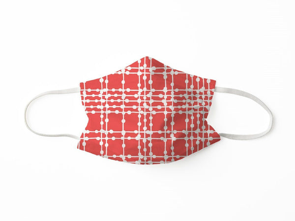 PROTECTIVE FACE MASK PLAID DOTS CORAL PPE KATHERINE WAY