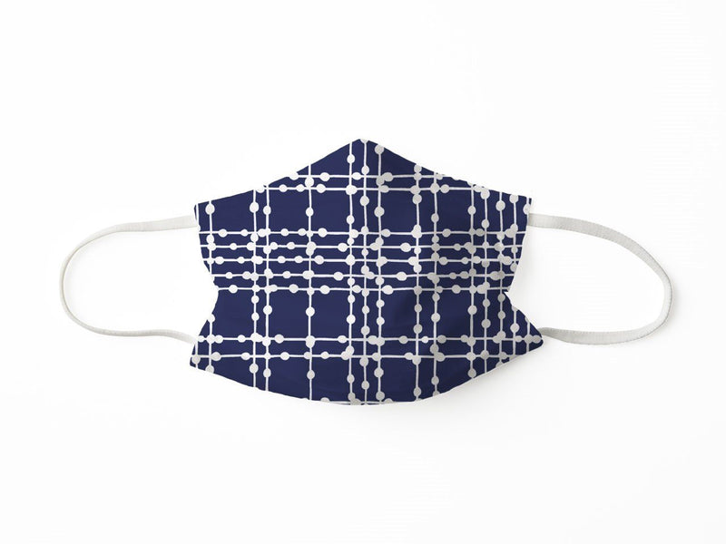 PROTECTIVE FACE MASK PLAID DOTS NAVY PPE KATHERINE WAY