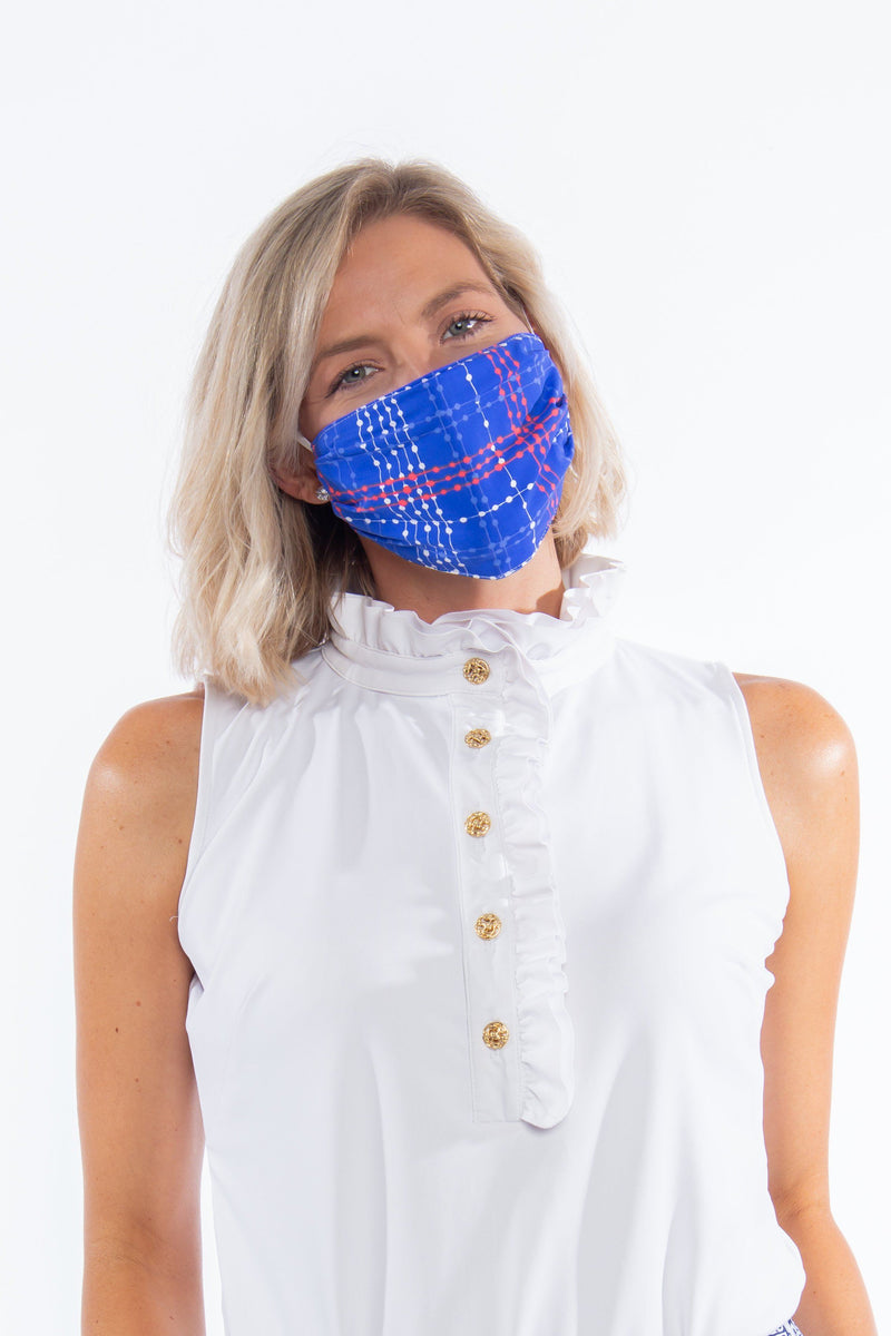 PROTECTIVE FACE MASK PLAID DOTS ROYAL PPE KATHERINE WAY