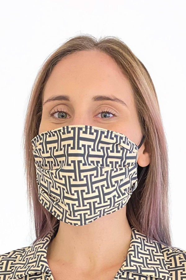 PROTECTIVE FACE MASK T PATTERN BLACK TAN PPE KATHERINE WAY
