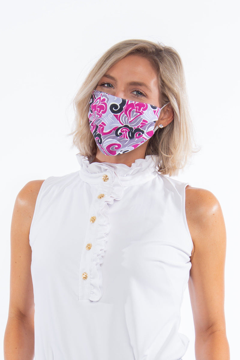 PROTECTIVE FACE MASK WAVES CRANBERRY BLACK PPE KATHERINE WAY