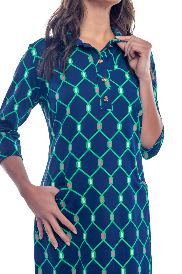 RALEIGH DRESS LINKSIDE NAVY GREEN DRESSES KATHERINE WAY
