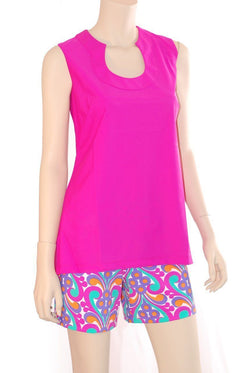 Sanibel Tunic Fuchsia TOPS Katherine Way Collections Fuchsia XS
