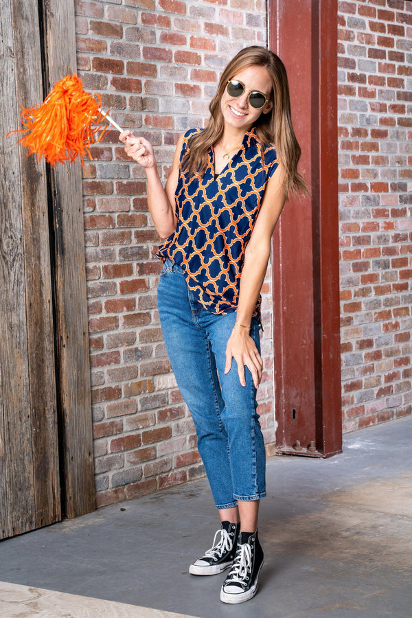 Santa Ana Tunic Bold Trellis Navy Orange TOPS Katherine Way Collections