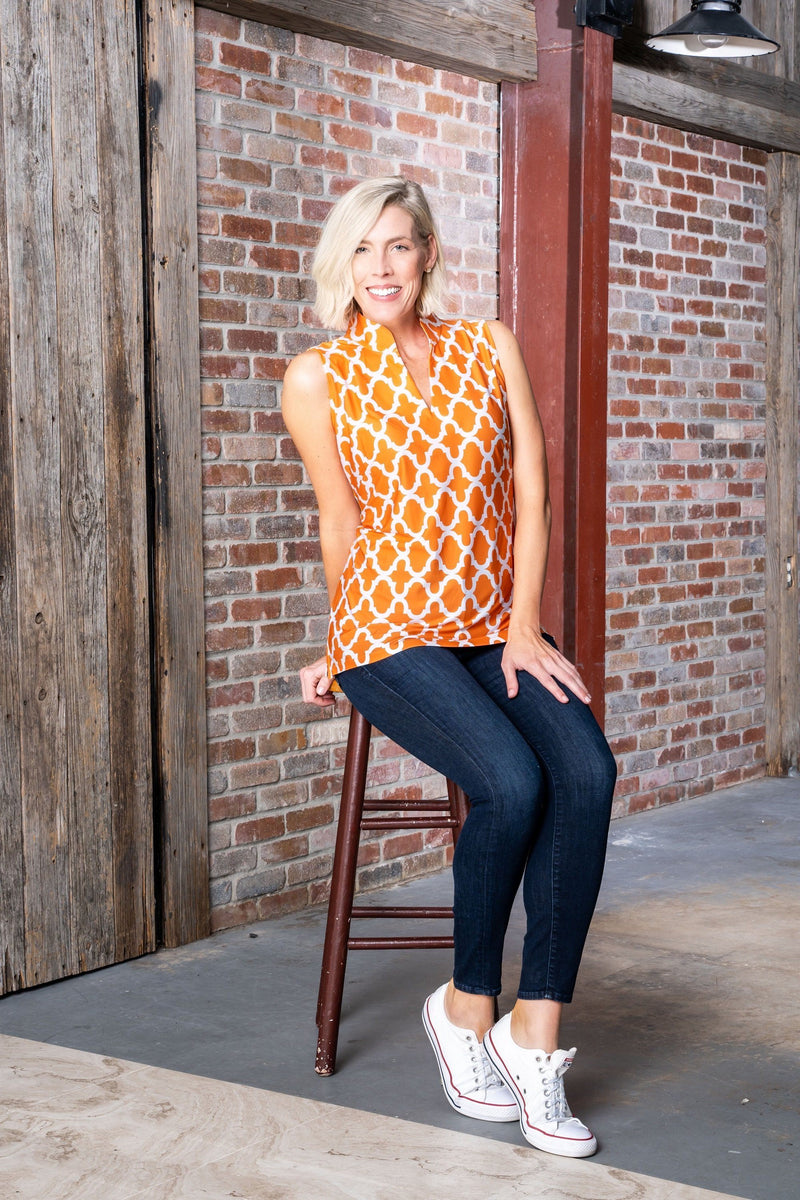 Santa Ana Tunic Bold Trellis Orange TOPS Katherine Way Collections