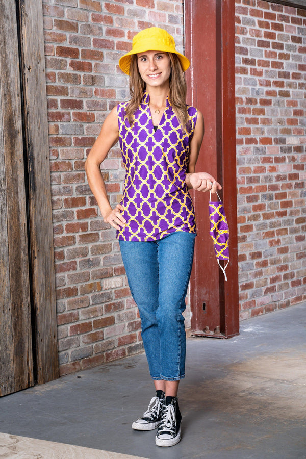 Santa Ana Tunic Bold Trellis Purple Gold TOPS Katherine Way Collections