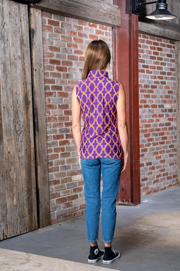 Santa Ana Tunic Bold Trellis Purple Orange TOPS Katherine Way Collections