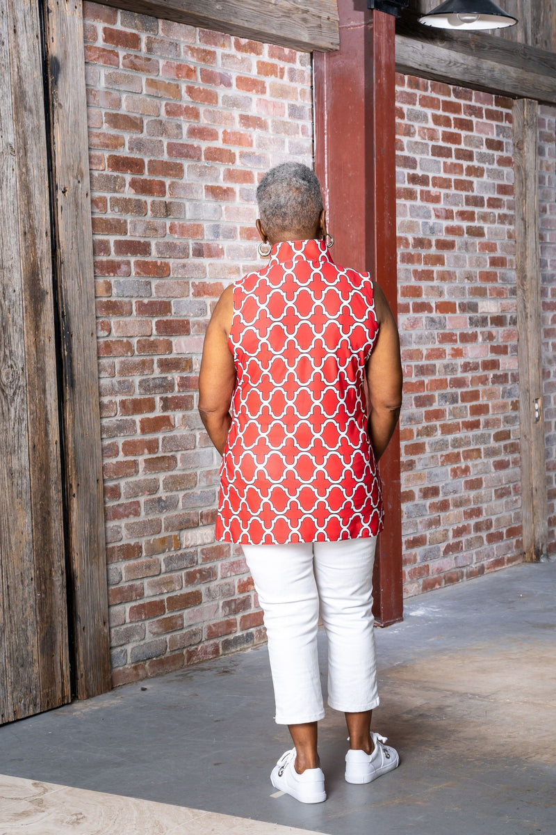 Santa Ana Tunic Bold Trellis Red Black TOPS Katherine Way Collections