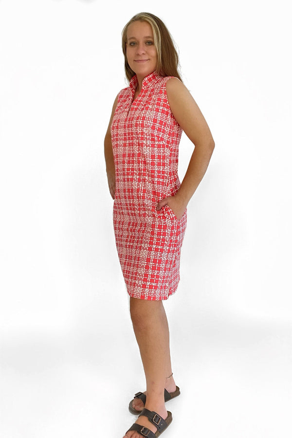 SANTA ROSA DRESS PLAID DOTS CORAL DRESSES KATHERINE WAY