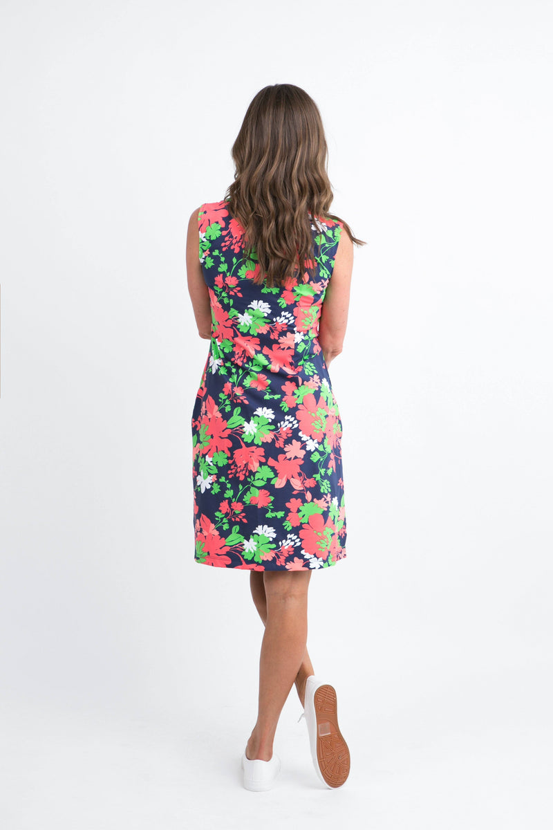 Santa Rosa Dress Wildflowers Navy Coral DRESSES Katherine Way Collections