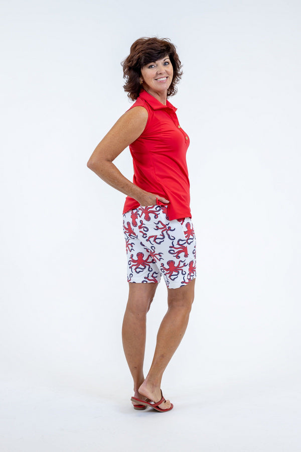 Sawgrass Shorts Octopus Red BOTTOMS Katherine Way Collections