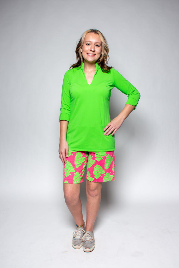 SAWGRASS SHORTS PALM LEAVES PINK LIME BOTTOMS KATHERINE WAY