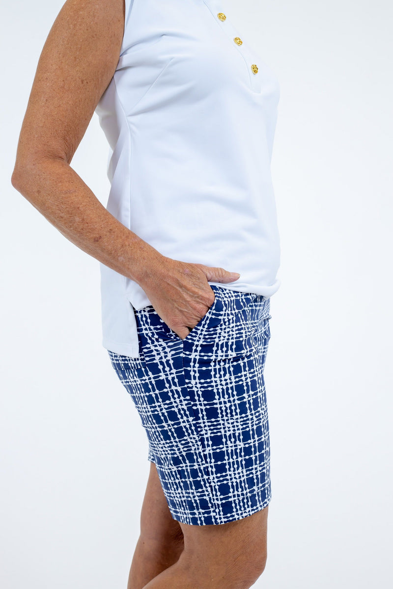 Sawgrass Shorts Plaid Dots Navy BOTTOMS Katherine Way Collections