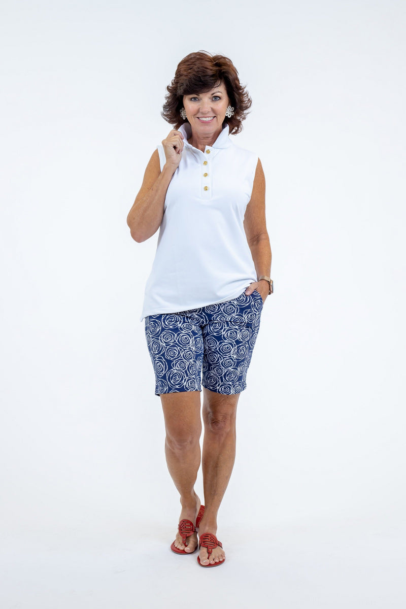 Sawgrass Shorts Roses Navy BOTTOMS Katherine Way Collections