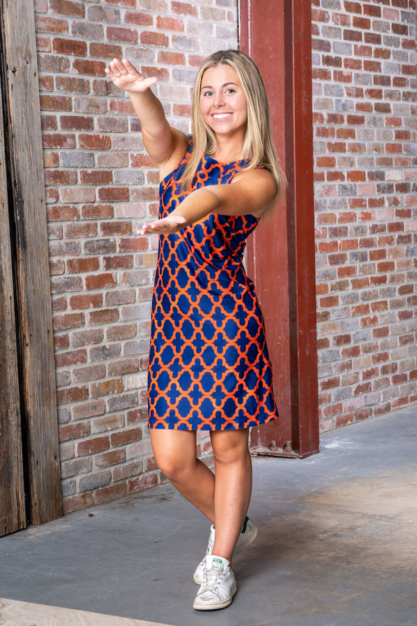 Seaside Dress Bold Trellis Blue Orange DRESSES Katherine Way Collections