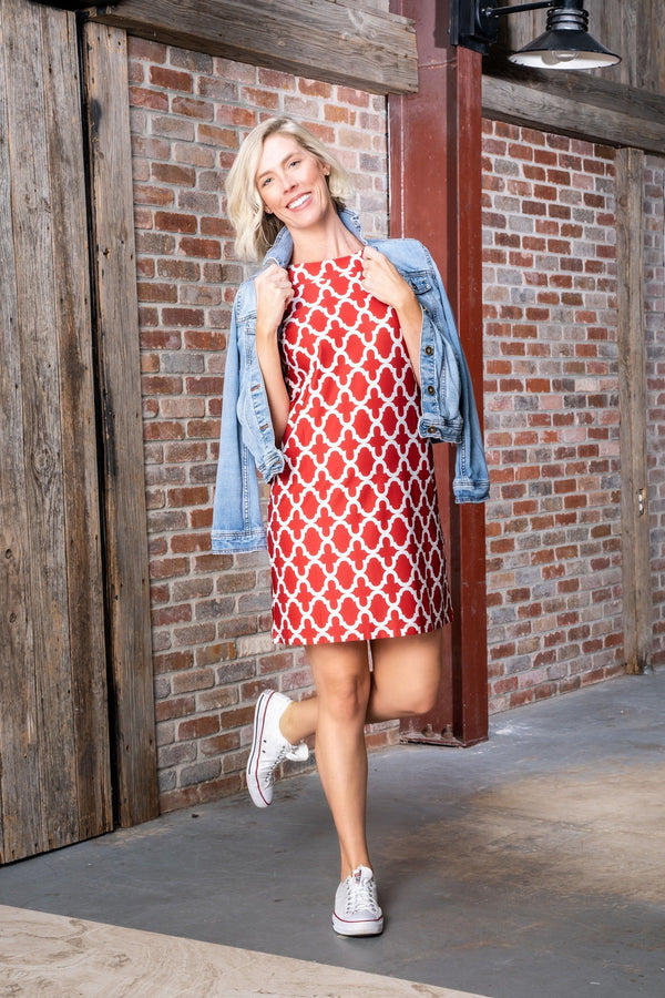 Seaside Dress Bold Trellis Crimson DRESSES Katherine Way Collections