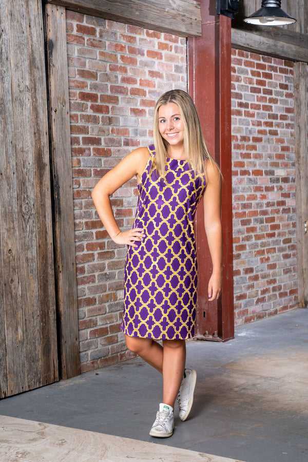 Seaside Dress Bold Trellis Purple Gold DRESSES Katherine Way Collections
