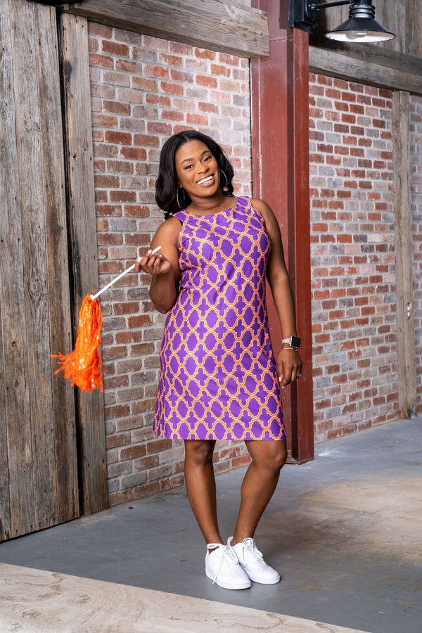 Seaside Dress Bold Trellis Purple Orange DRESSES Katherine Way Collections