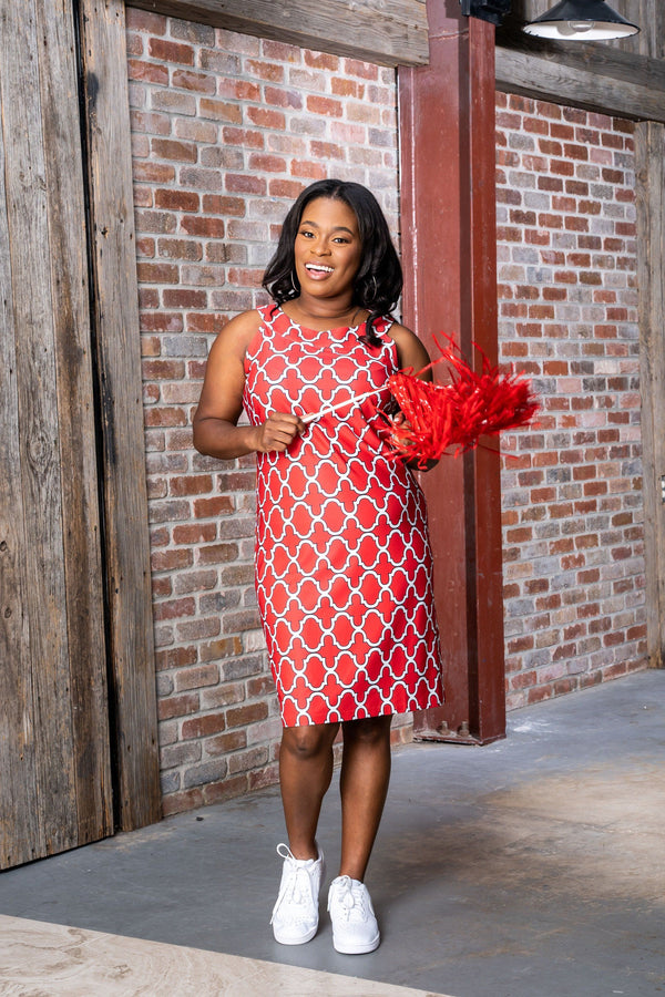 Seaside Dress Bold Trellis Red Black DRESSES Katherine Way Collections