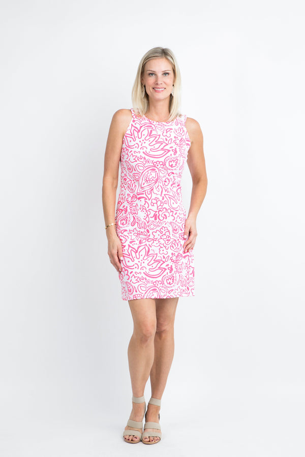 Seaside Dress Floral Fun Pink DRESSES Katherine Way Collections