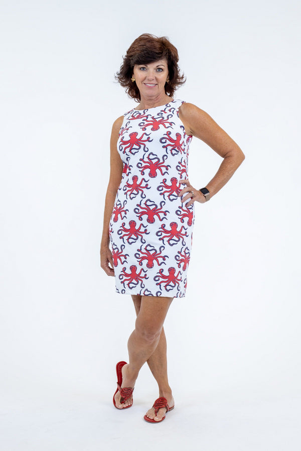 Seaside Dress Octopus Red DRESSES Katherine Way Collections