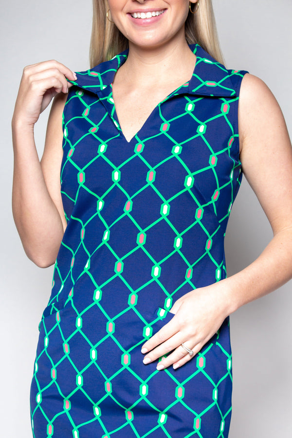 ST. REGIS DRESS LINKSIDE NAVY GREEN DRESSES KATHERINE WAY