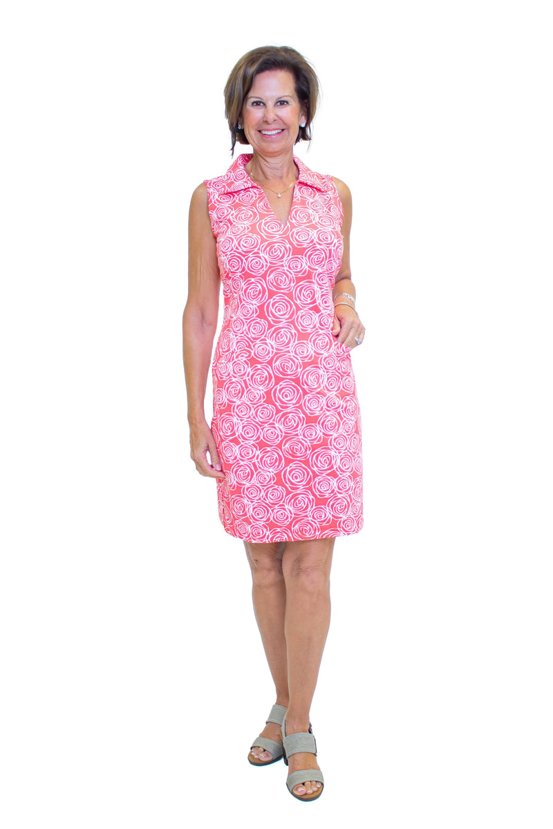 St. Regis Dress Roses Coral DRESSES Katherine Way Collections