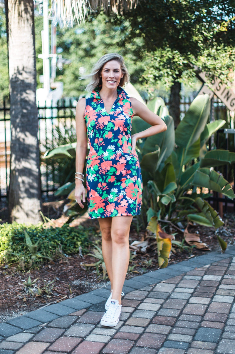 St. Regis Dress Wildflowers Navy Coral DRESSES Katherine Way Collections