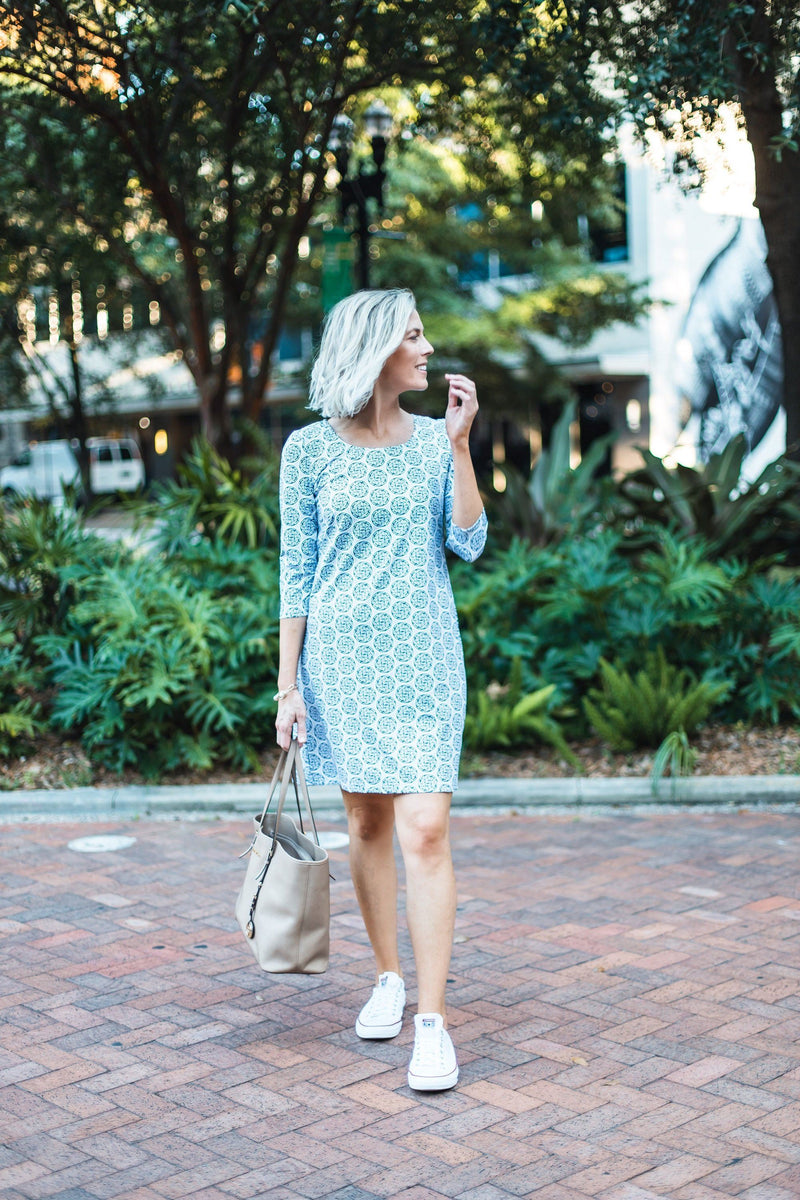 ST. SIMONS DRESS MEDALLION NAVY GREY DRESSES KATHERINE WAY